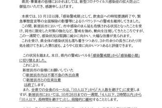 愛媛県より新型コロナウイルスに関する「感染縮小期」への切り替えについて
